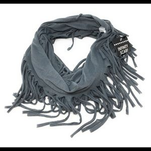 Infinity Scarf With Fringe Gray Scarf
